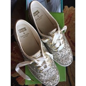 Glittery gold and silver Keds